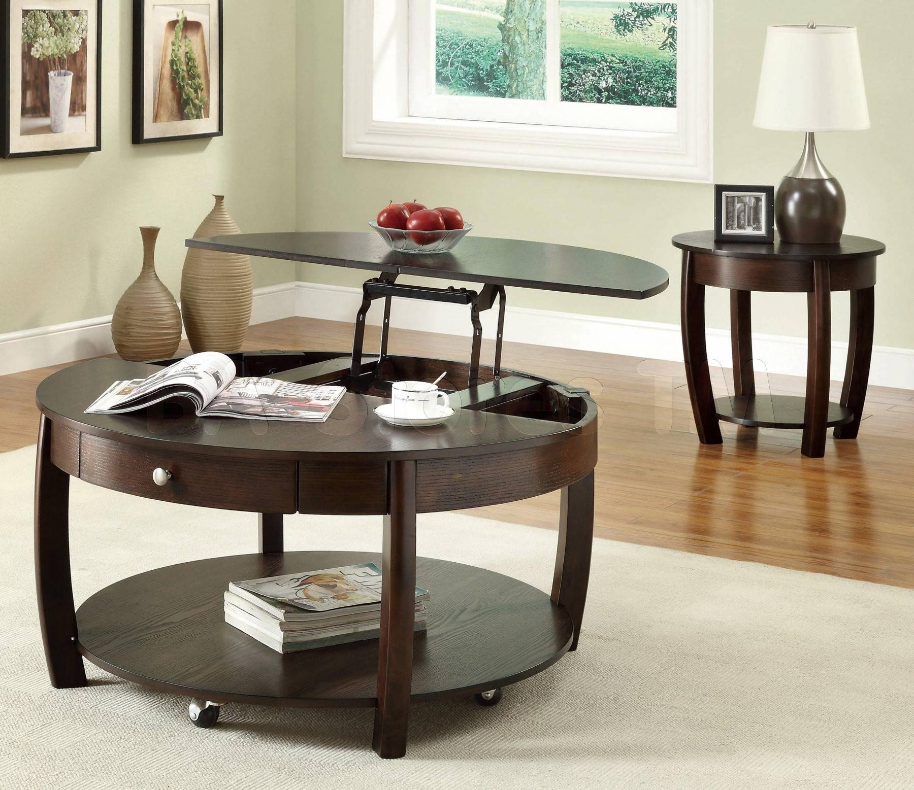 Black Wooden Round Table With Shelf Also Four Long Legs With regarding Round Coffee Tables With Drawer (Image 4 of 30)