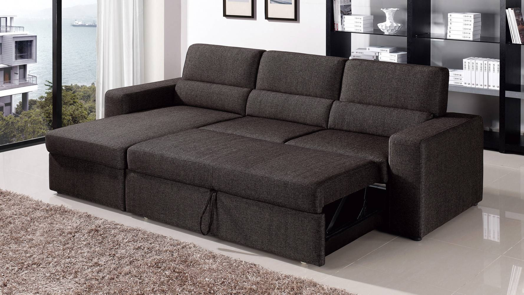 Black/brown Clubber Sleeper Sectional Sofa | Zuri Furniture for Sleeper Sectional Sofas (Image 2 of 30)
