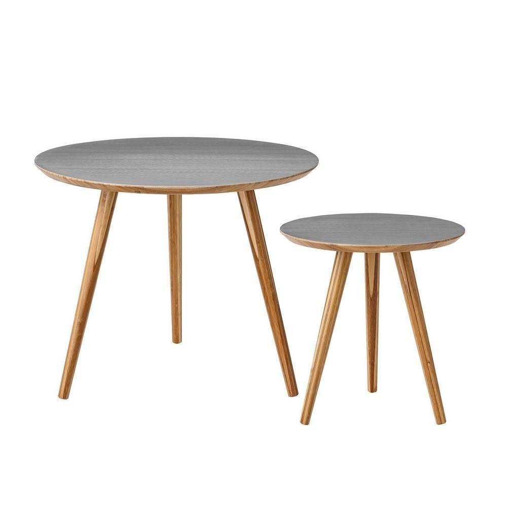 Bloomingville Cortado Coffee Table Set Of 2 Grey Bamboo   Living Intended For Grey Coffee Table Sets (Photo 17 of 30)