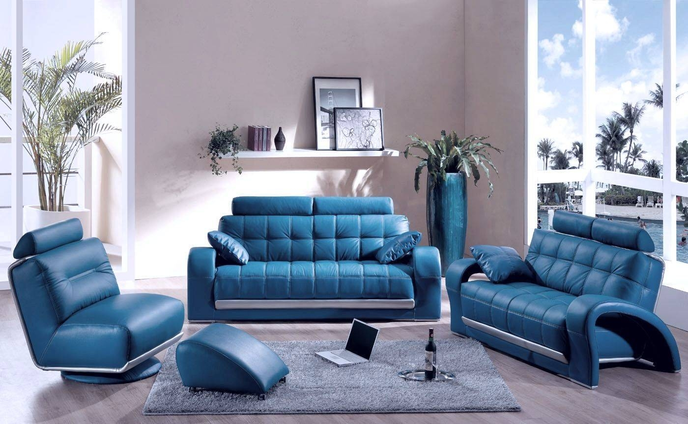 Blue Chairs Furniture Made Of Leather In The Living Room Design with regard to Blue Sofa Chairs (Image 10 of 30)