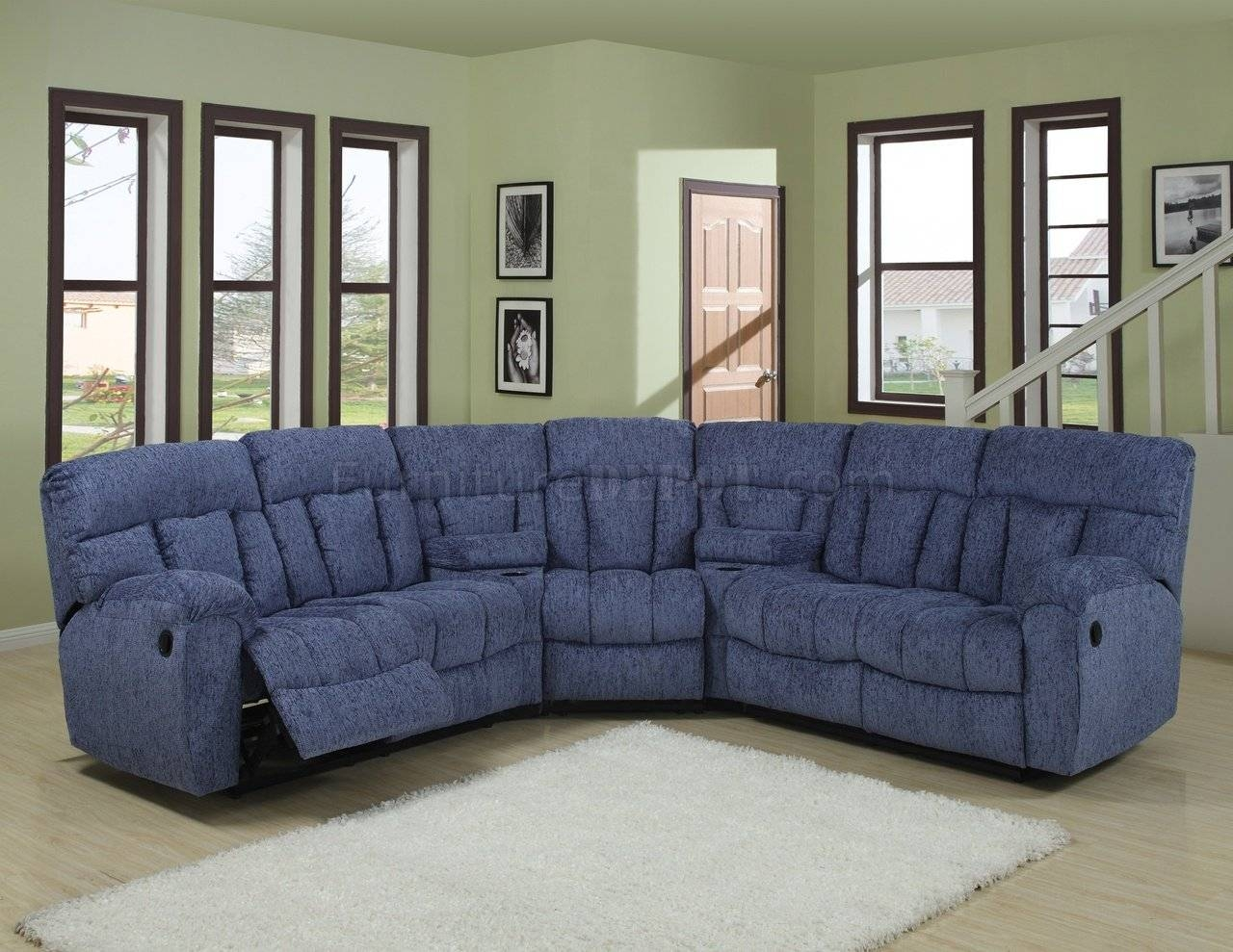 Blue Or Beige Fabric Modern 5Pc Reclining Sectional Sofa regarding Recliner Sectional Sofas (Image 4 of 30)