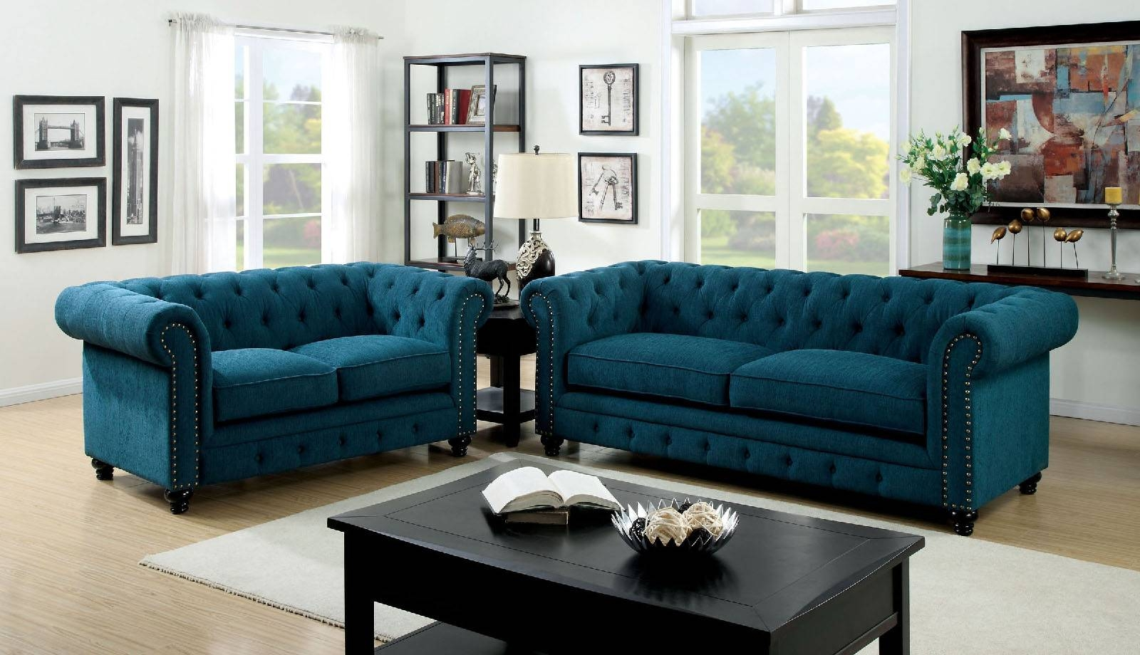 Blue Tufted Sofa Set | Tehranmix Decoration pertaining to Blue Tufted Sofas (Image 6 of 30)
