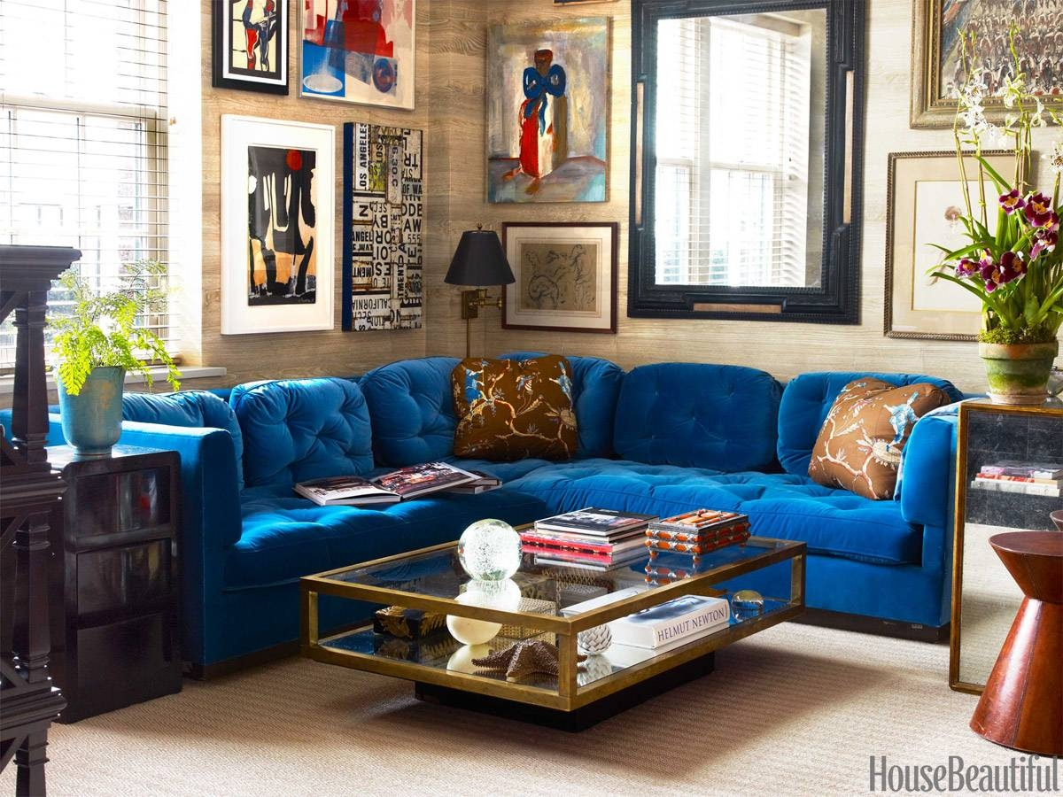 Blue Velvet Sectional Sofa | Tehranmix Decoration in Velvet Sofas Sectionals (Image 4 of 25)