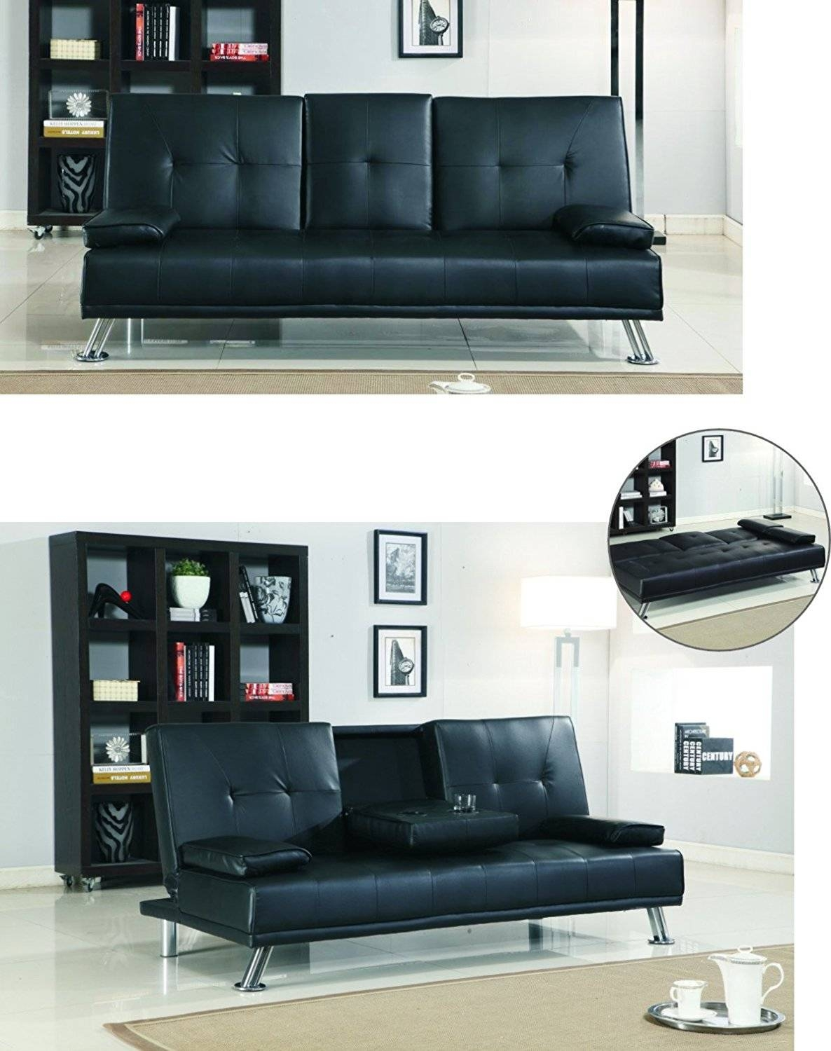 Bluetooth Cinema Sofa Bed With Drink Cup Holder Table Black Faux Pertaining To Sofa Drink Tables (View 10 of 30)