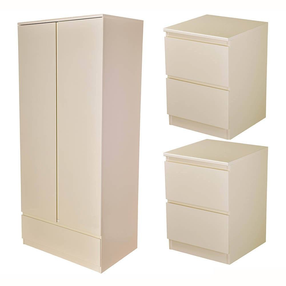 Bnib Wren Living Milano 2 Door 1 Drawer Wardrobe In Cream Gloss with regard to Cream Gloss Wardrobes Doors (Image 2 of 15)