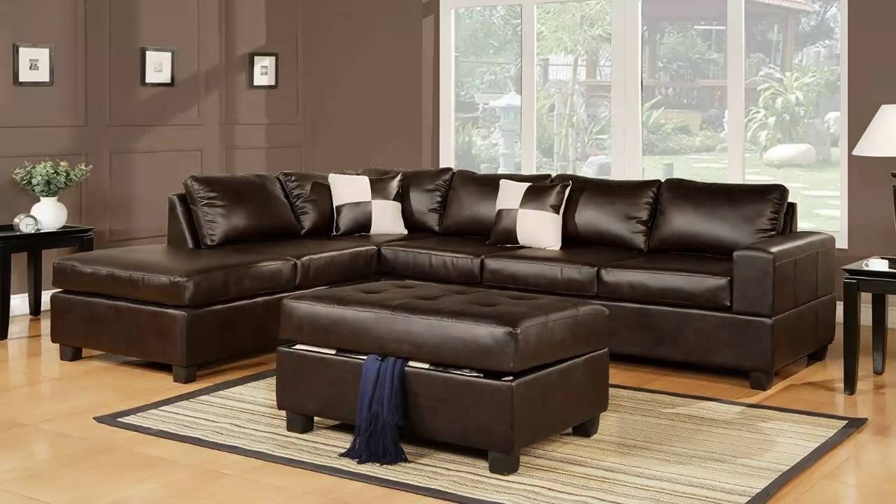 Bobkona Soft Touch Reversible Bonded Leather Match 3 Piece Pertaining To Soft Sectional Sofas (View 4 of 30)