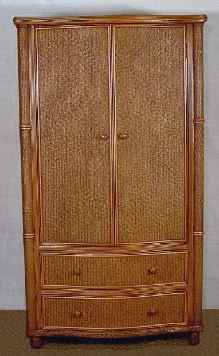 Bombay Rattan Armoire Wicker Wardrobe Cabinet Wicker Country intended for Wicker Armoire Wardrobes (Image 4 of 15)