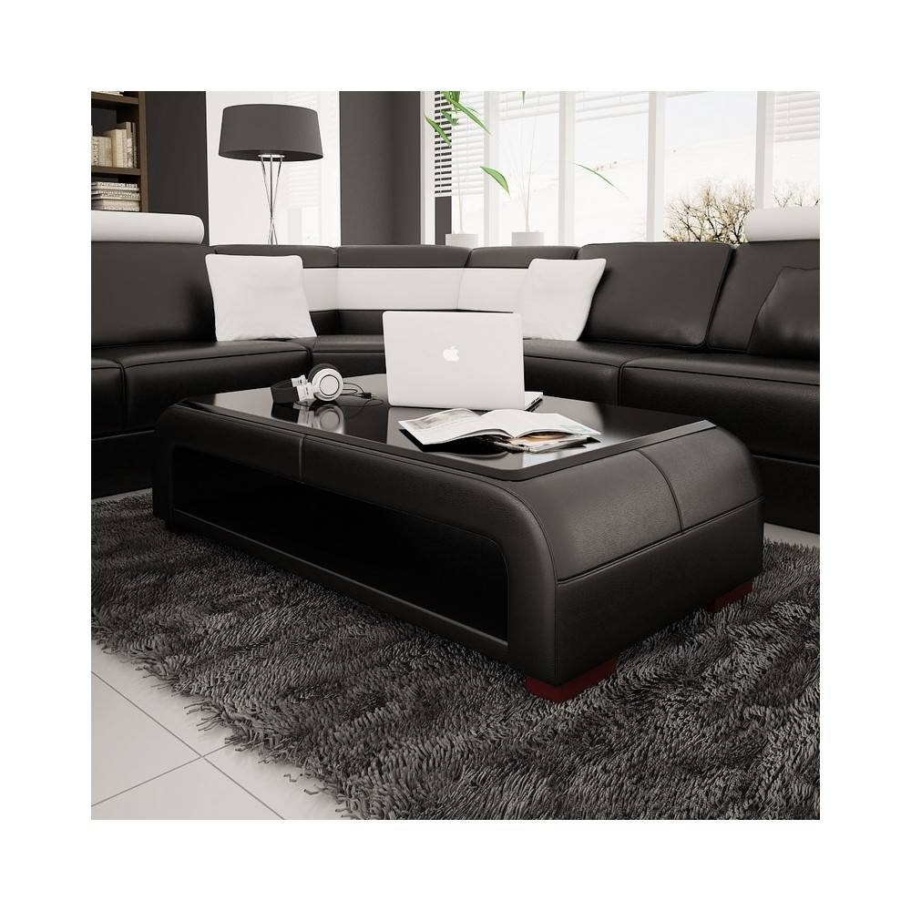 Bonded Leather Coffee Table With Glass Top | Coffee Tables Decoration with Dark Glass Coffee Tables (Image 8 of 30)
