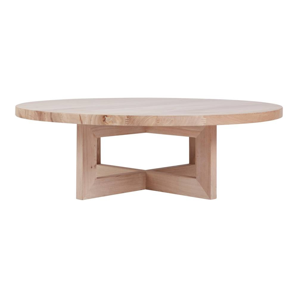 Bondi Round Oak Coffee Table - Solid Timber Accent Tables with regard to Solid Round Coffee Tables (Image 3 of 30)