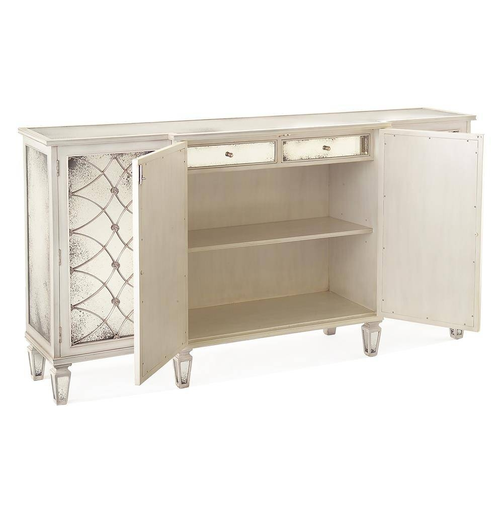 Bonet Hollywood Regency Grillwork Antique White Mirrored Sideboard pertaining to Mirrored Sideboards (Image 6 of 30)