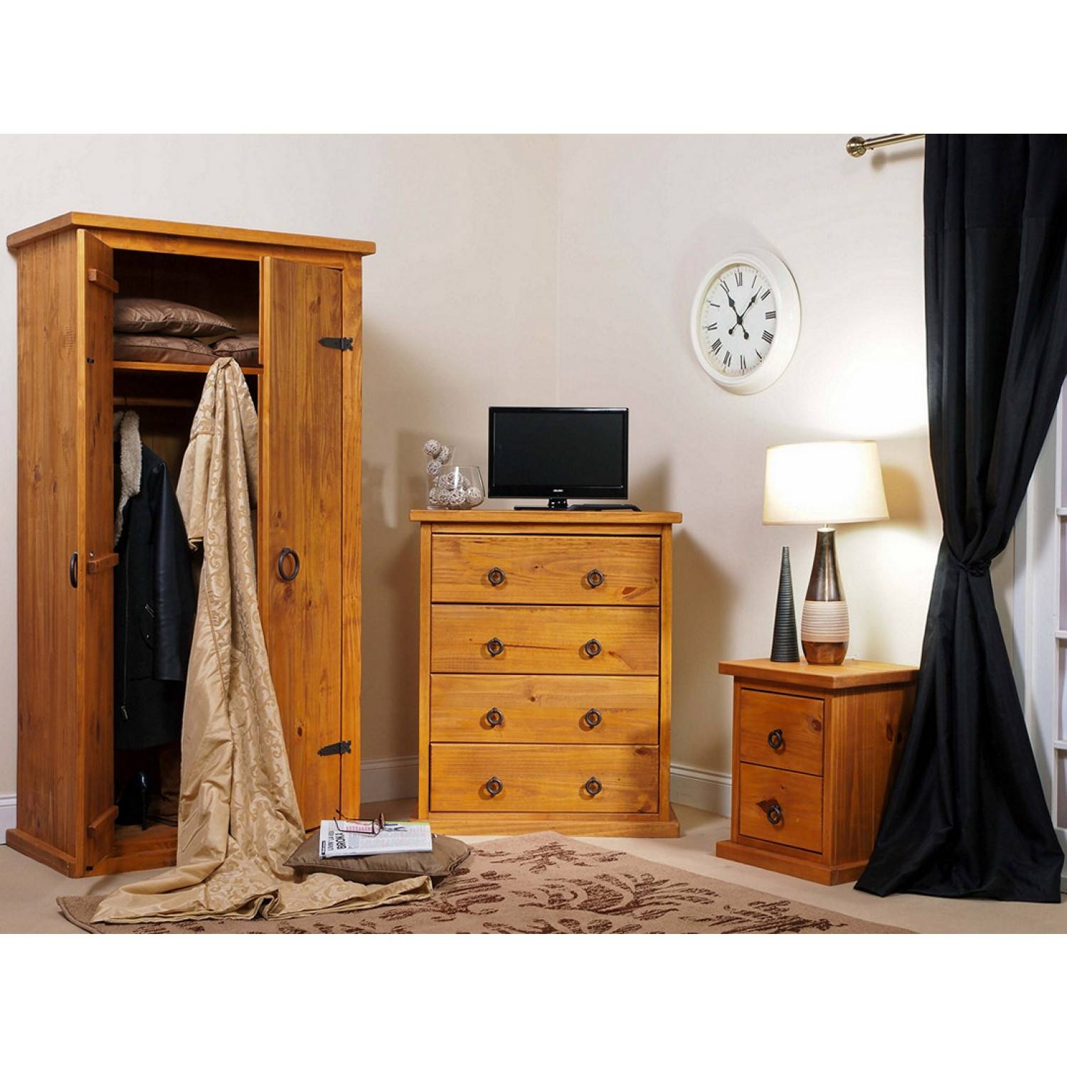 Bonsoni Countryhouse 1 X Two Drawer Bedside Cabinet, 1 X Four In Self Assembly Wardrobes (View 4 of 15)