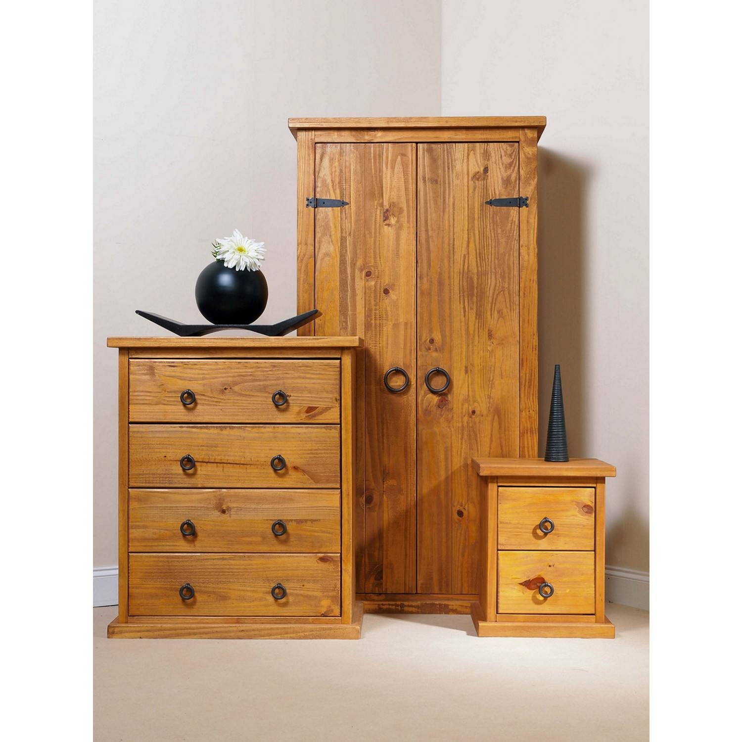 Bonsoni Countryhouse 1 X Two Drawer Bedside Cabinet, 1 X Four pertaining to Self Assembly Wardrobes (Image 5 of 15)