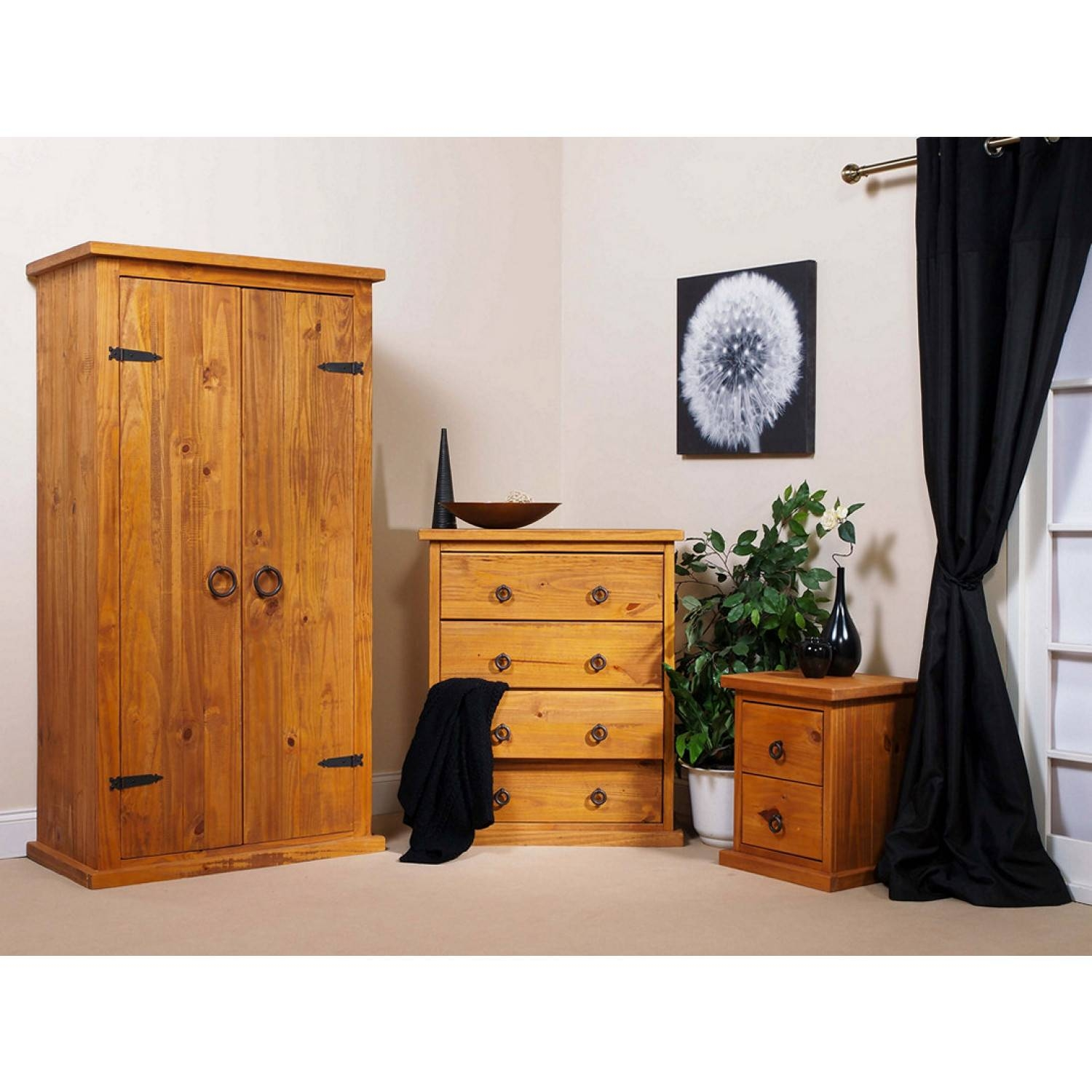 Bonsoni Countryhouse 1 X Two Drawer Bedside Cabinet, 1 X Four with Self Assembly Wardrobes (Image 6 of 15)