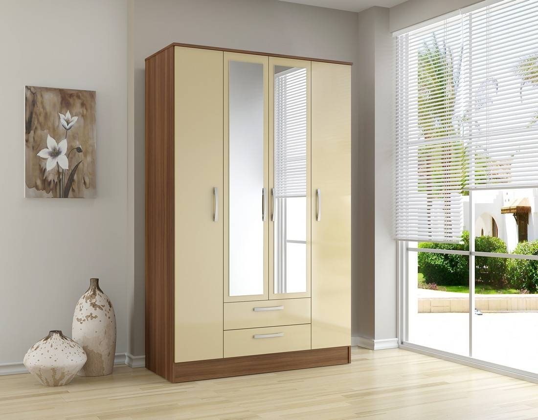 Bonsoni Mdp Lynx 4 Door 2 Drawer/mirror Wardrobe Walnut & Cream within Cream Gloss Wardrobes (Image 2 of 15)