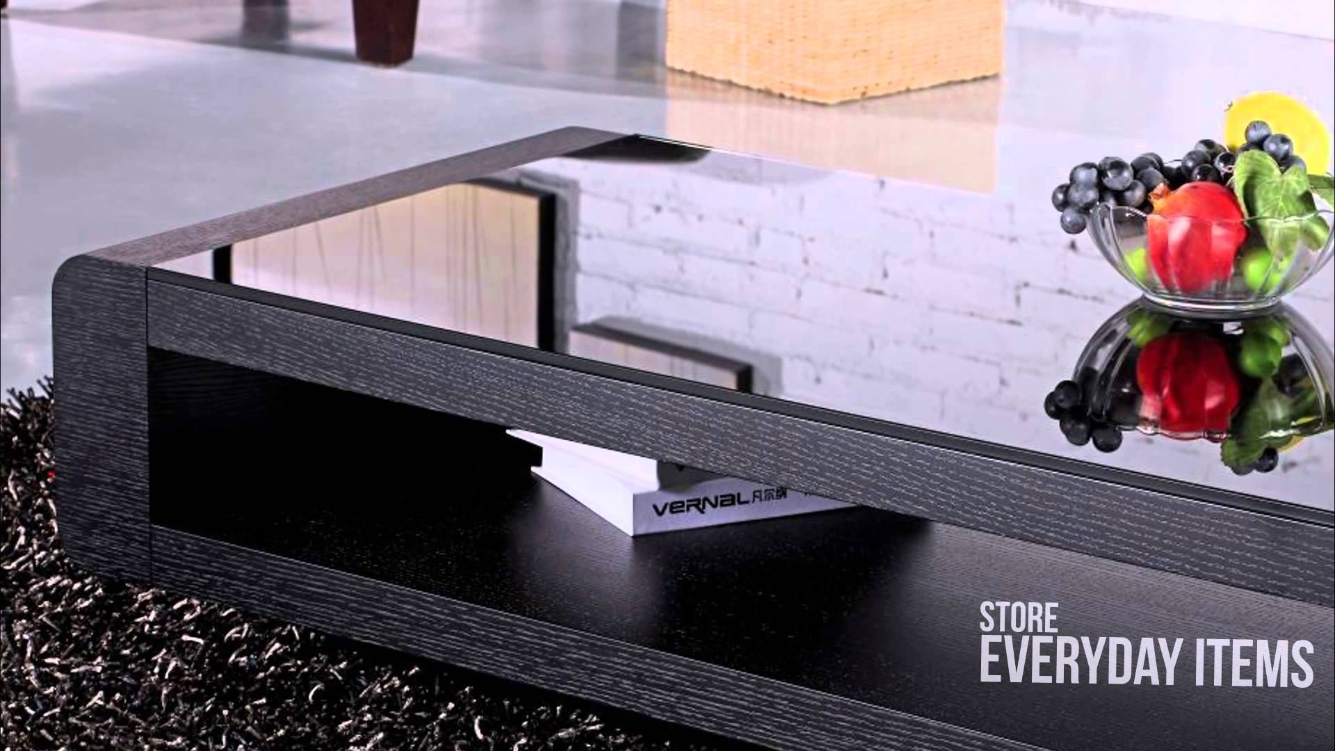 Bordeaux Glass Top Coffee Table In Black Oak Veneer - Youtube with Bordeaux Coffee Tables (Image 8 of 30)