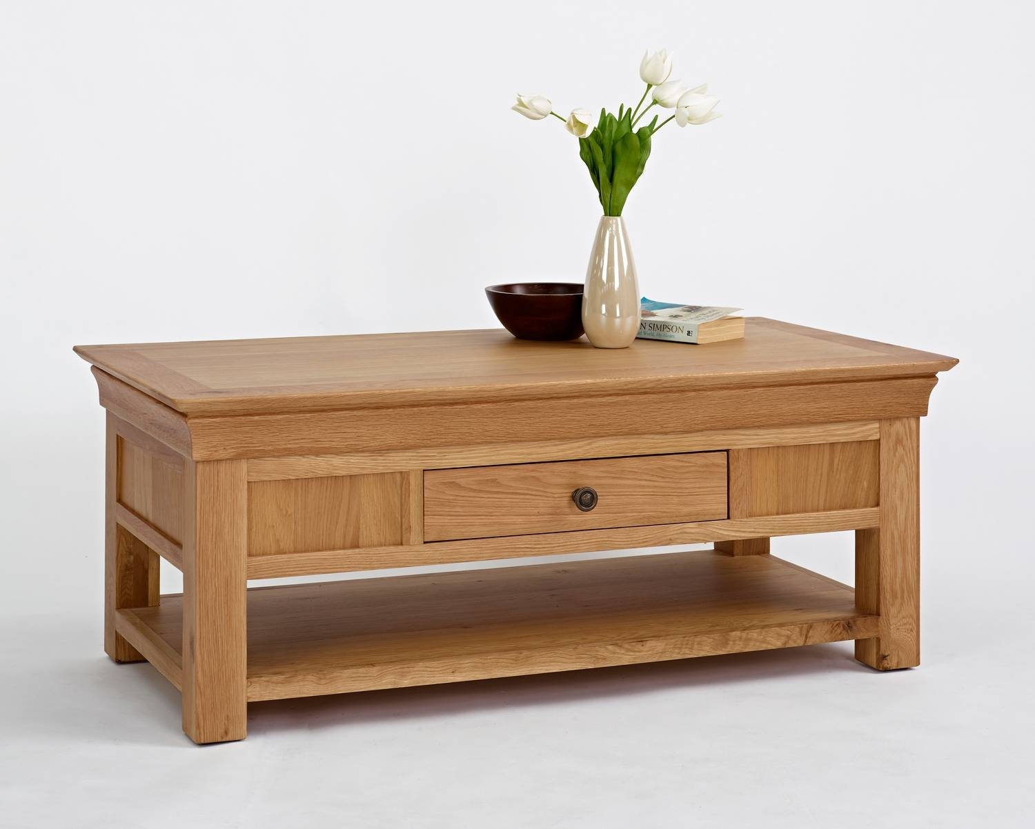Bordeaux Oak Coffee Table With Shelf & Drawer inside Oak Coffee Table With Drawers (Image 1 of 15)