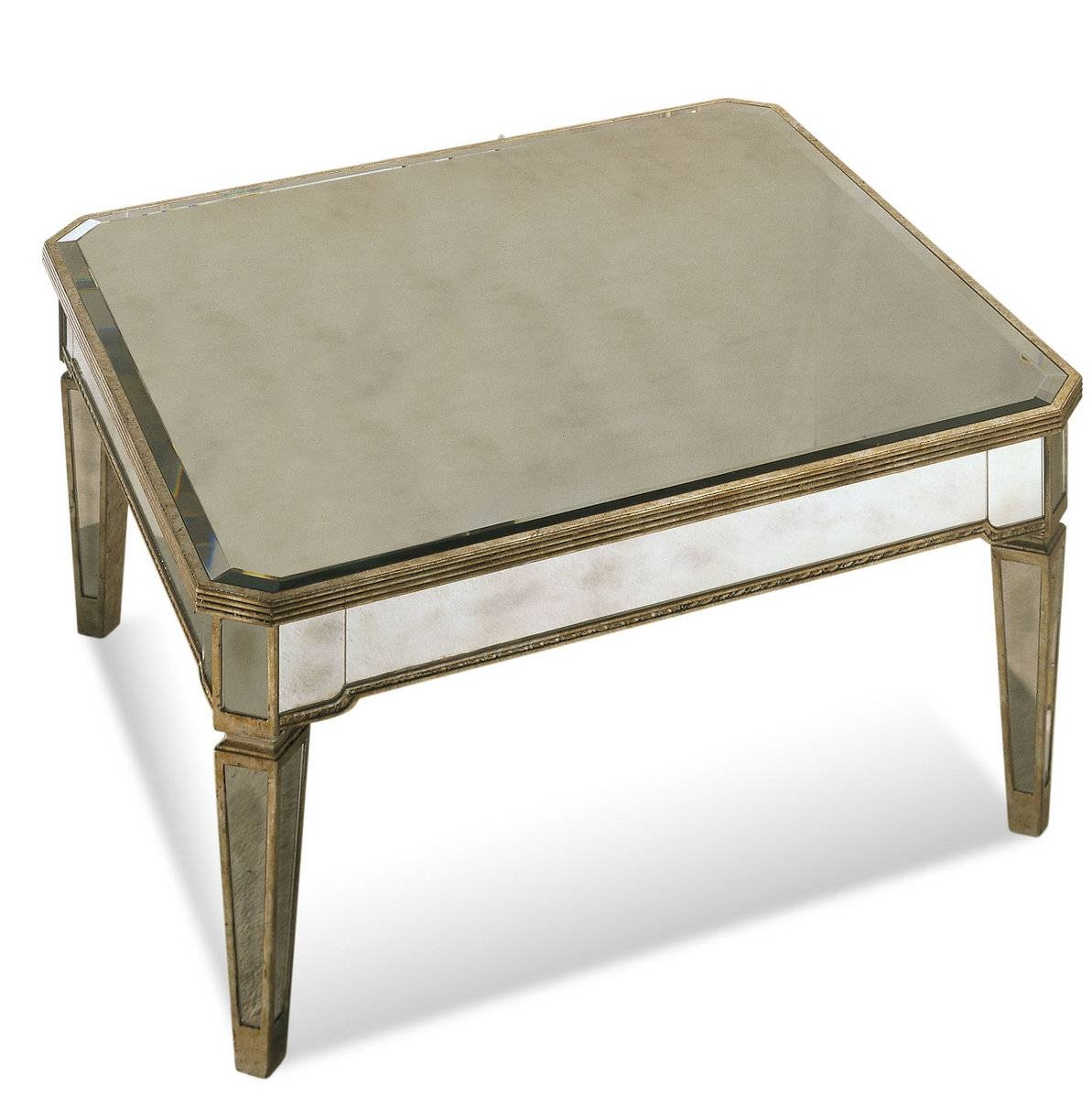 Borghese Mirrored Square Cocktail Table (Antique Mirror & Silver pertaining to Vintage Mirror Coffee Tables (Image 6 of 30)