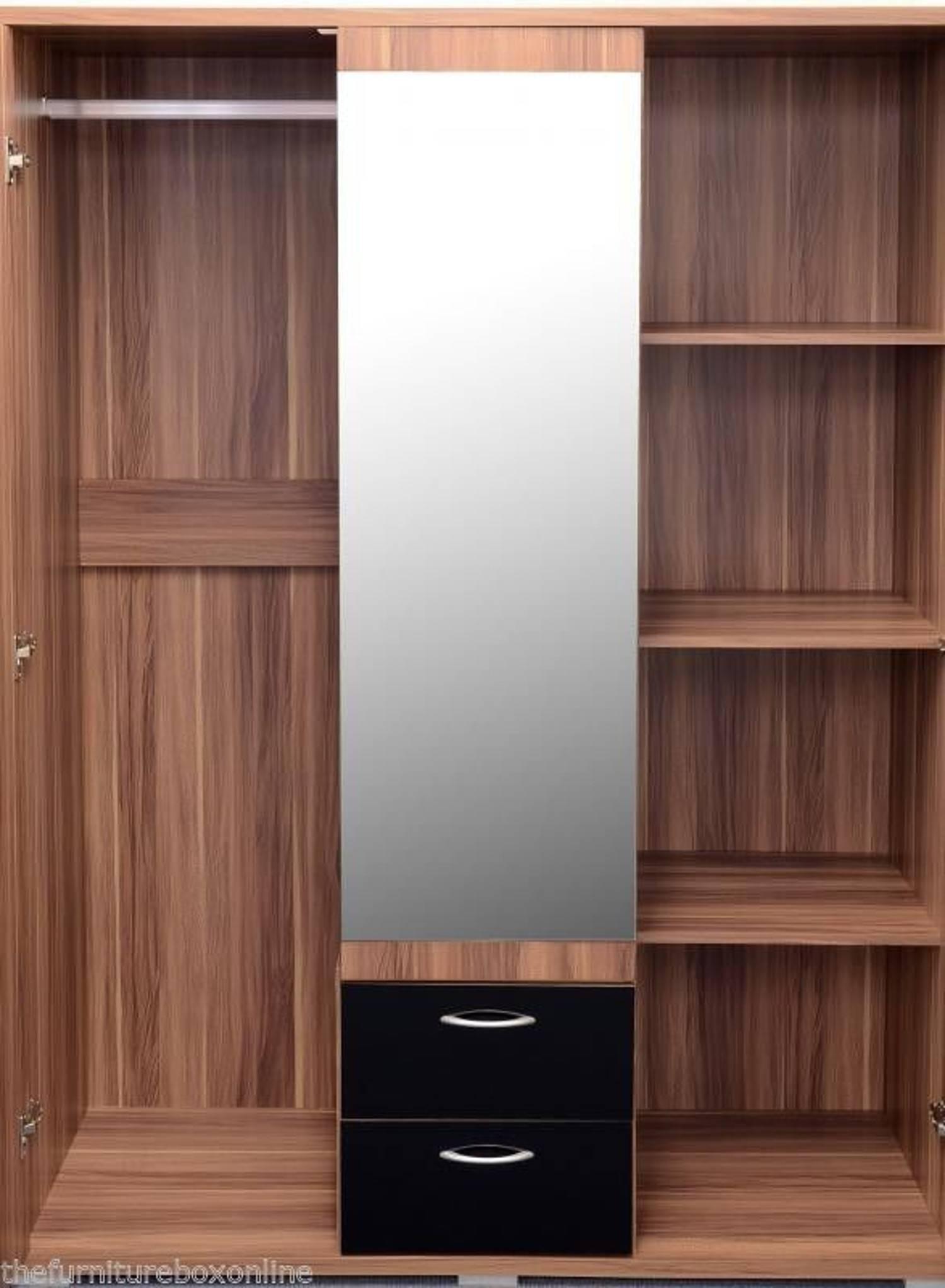 Boston Walnut 3 Door 2 Drawer Mirror Wardrobe | Furniturebox throughout 3 Door Wardrobe With Drawers And Shelves (Image 5 of 30)