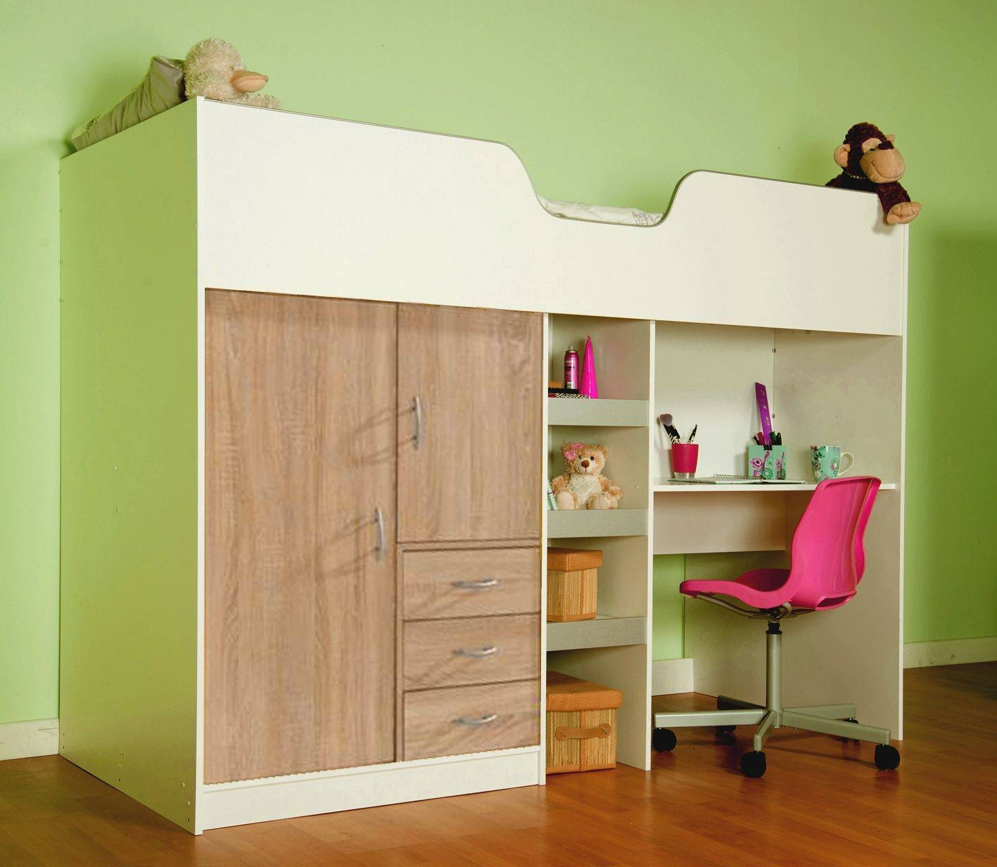 Bourne High Sleeper Cabin Bed - Available In White & Oak intended for High Sleeper Cabin Bed With Wardrobes (Image 1 of 15)