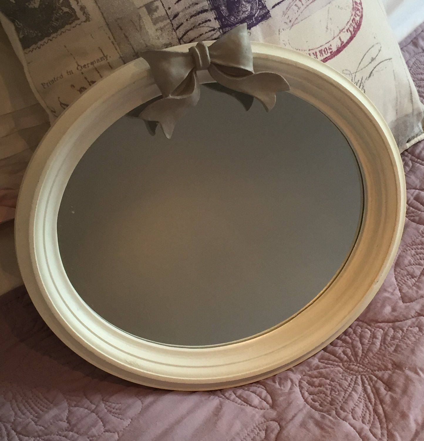 Bow Mirror Wall Mounted Oval Shabby Chic Painted White for Oval Shabby Chic Mirrors (Image 8 of 25)