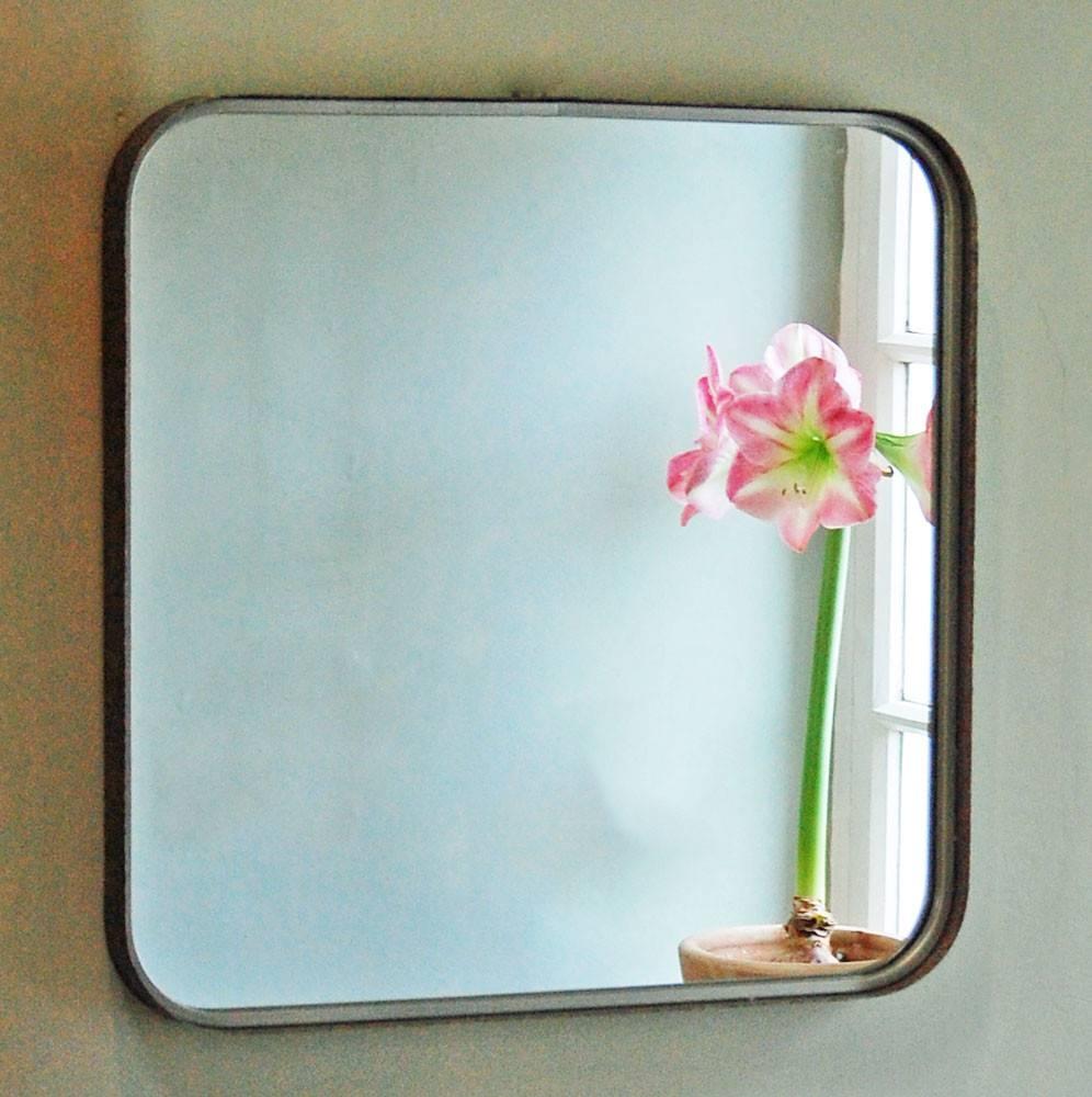 Bowley & Jackson Retro Vintage Grey Metal Square Wall Mirror with Retro Wall Mirrors (Image 13 of 25)