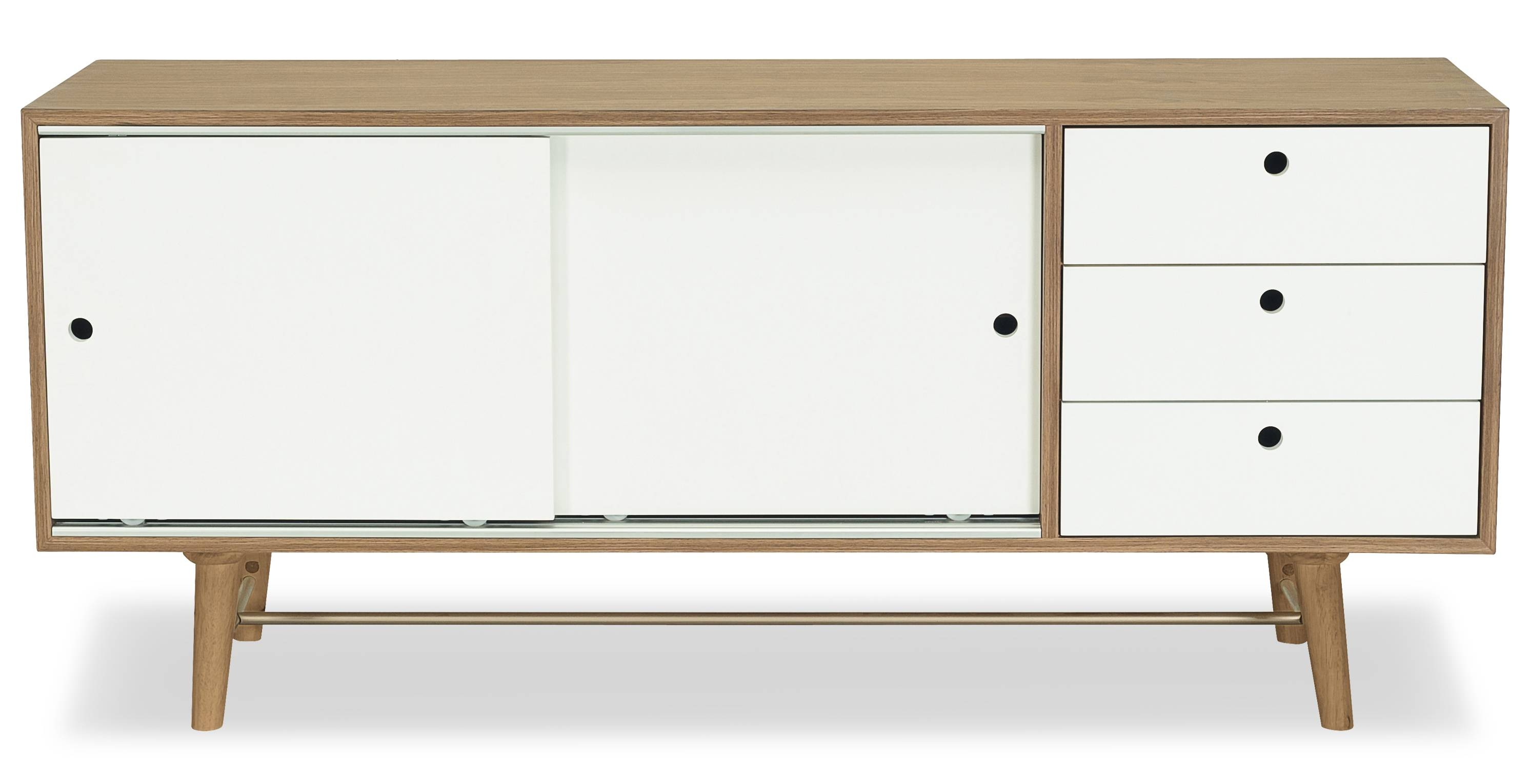 Braden Sideboard, Walnut And White Fern & Grey in White Sideboards (Image 5 of 30)