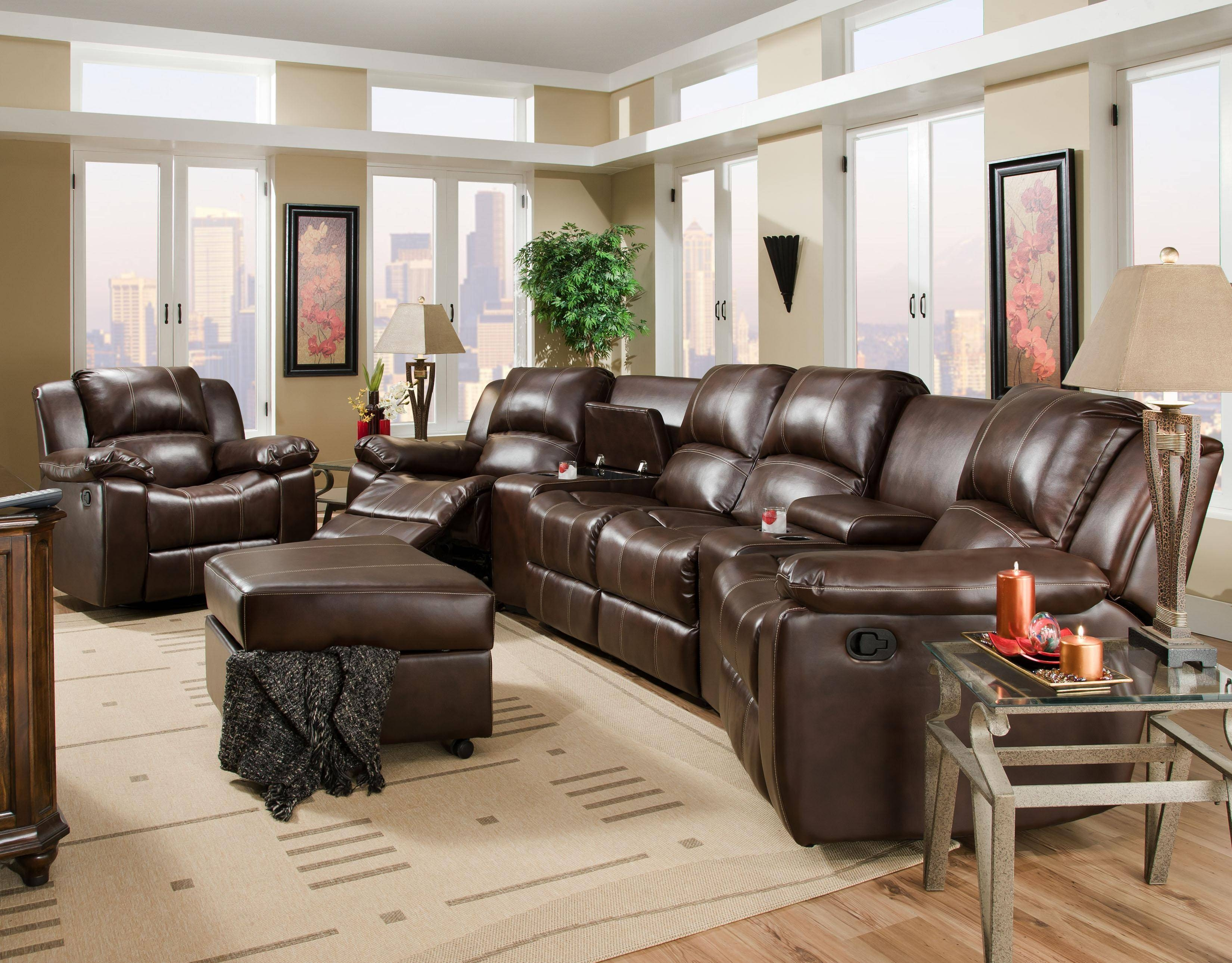 Brady Four Seat Reclining Theater Seating With Storage And pertaining to Corinthian Sectional Sofas (Image 2 of 30)