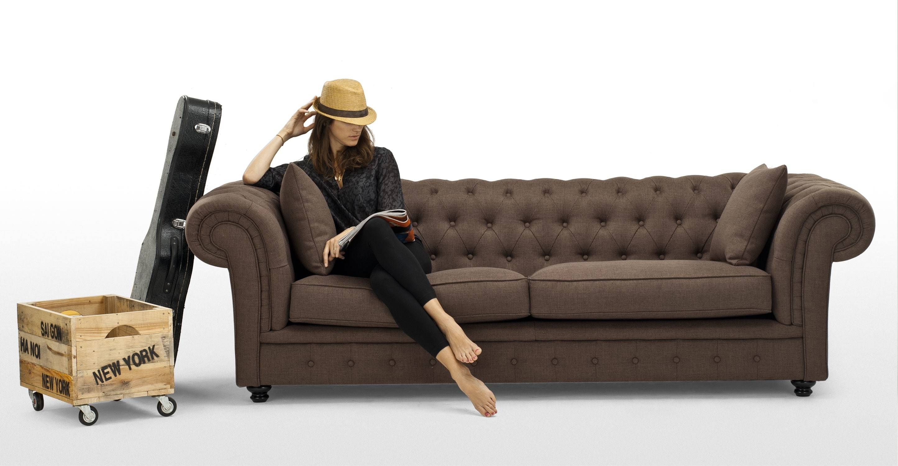 Branagh 3 Seater Brown Chesterfield Sofa | Made regarding Chesterfield Furniture (Image 7 of 30)