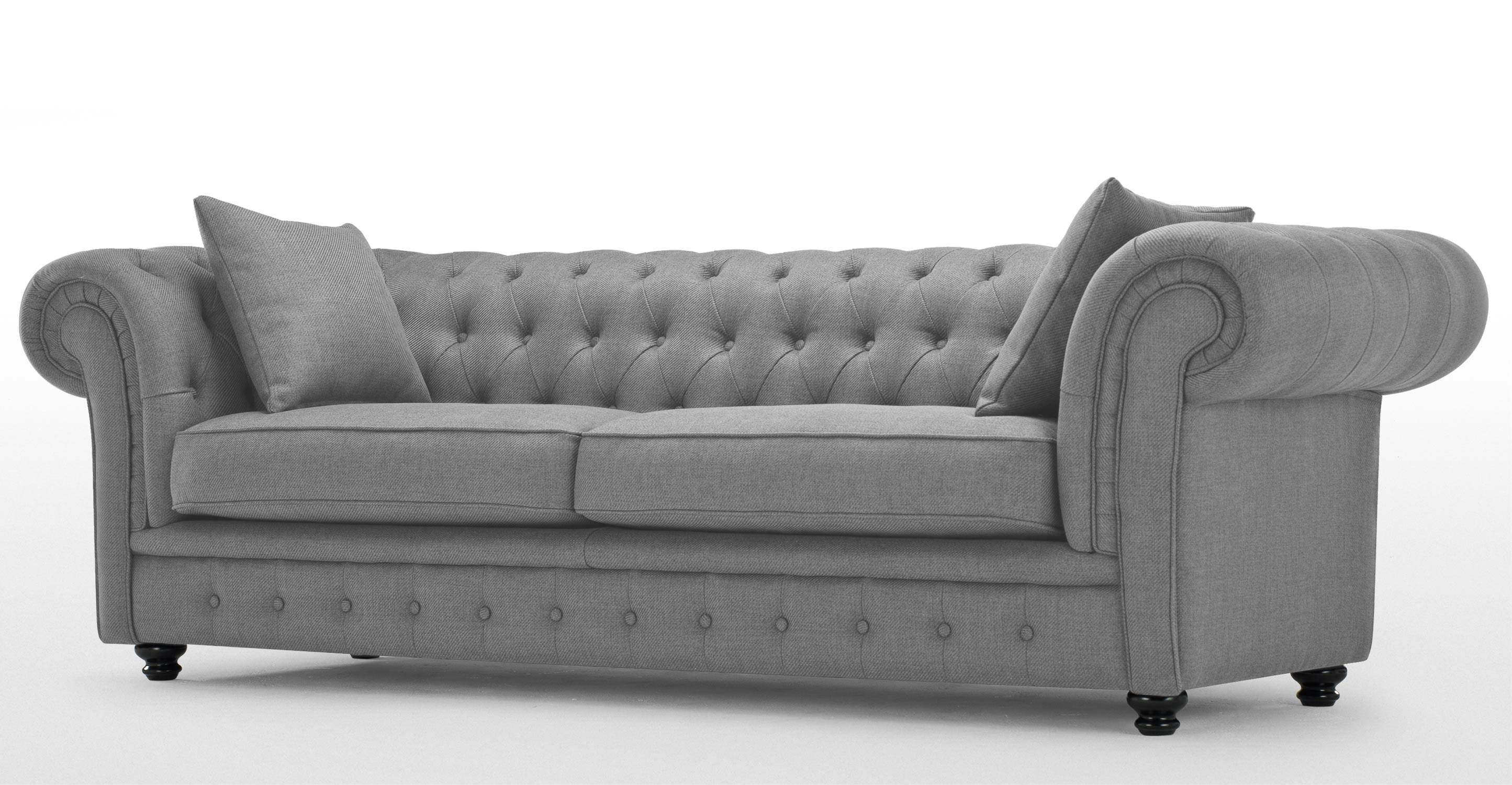 Branagh 3 Seater Grey Chesterfield Sofa | Made throughout Chesterfield Furniture (Image 8 of 30)