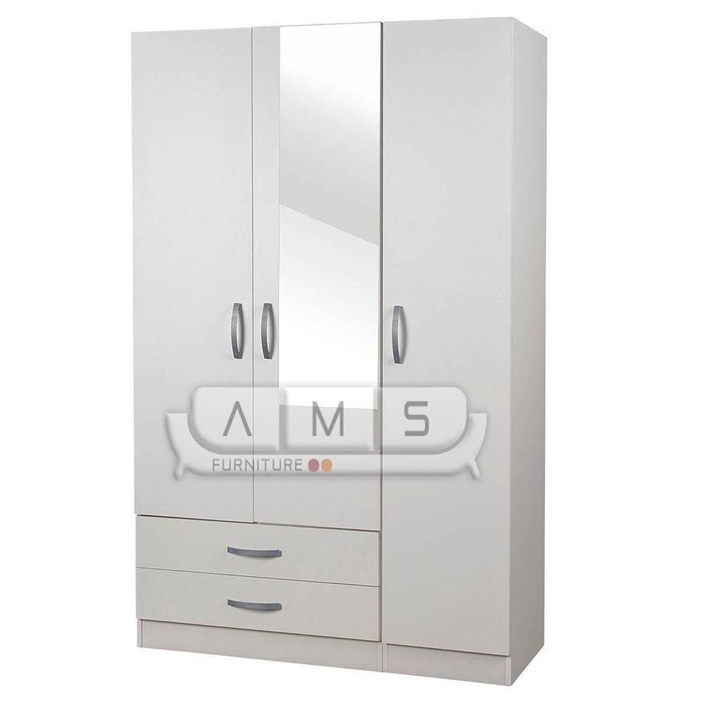 Brand New 3 Door Wardrobe With Mirror, Shelves, Drawers And A Rail throughout 3 Door Wardrobe With Drawers and Shelves (Image 6 of 30)