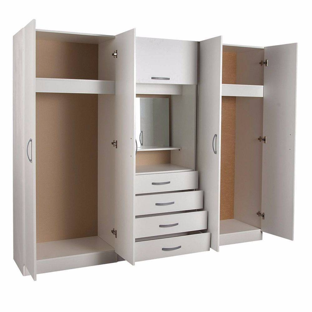 Brand New 4 Door Family Fitment Wardrobe Set With Shelves, Hanging with Wardrobe With Drawers and Shelves (Image 9 of 30)