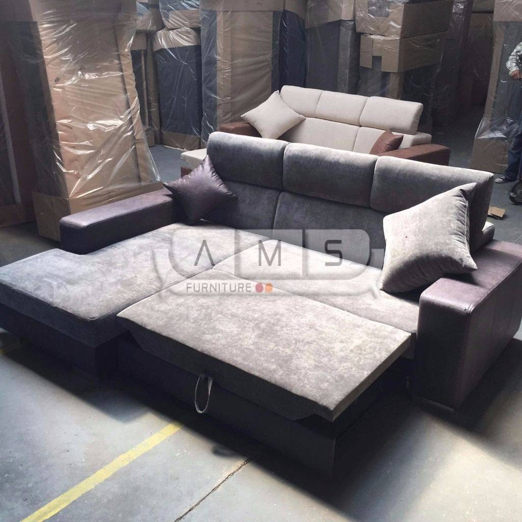 Brand New Chunky Suede Chenille Fabric Corner Sofa Bed Grey Settee for Fabric Corner Sofa Bed (Image 7 of 30)