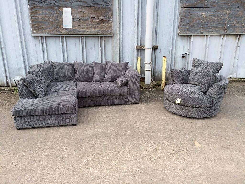 brand new corner sofa and swivel chair in grey jumbo cord 449 for corner