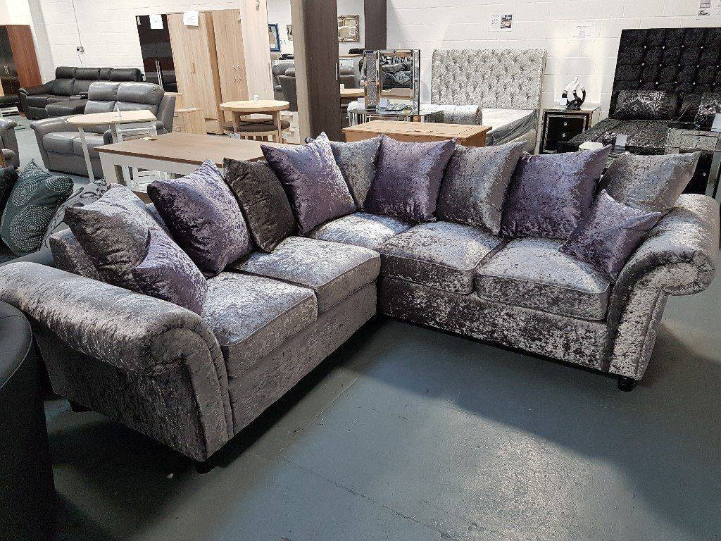 Brand New Crush Velvet Corner Sofa. Silver/purple Or Silver/black regarding Velvet Purple Sofas (Image 9 of 30)