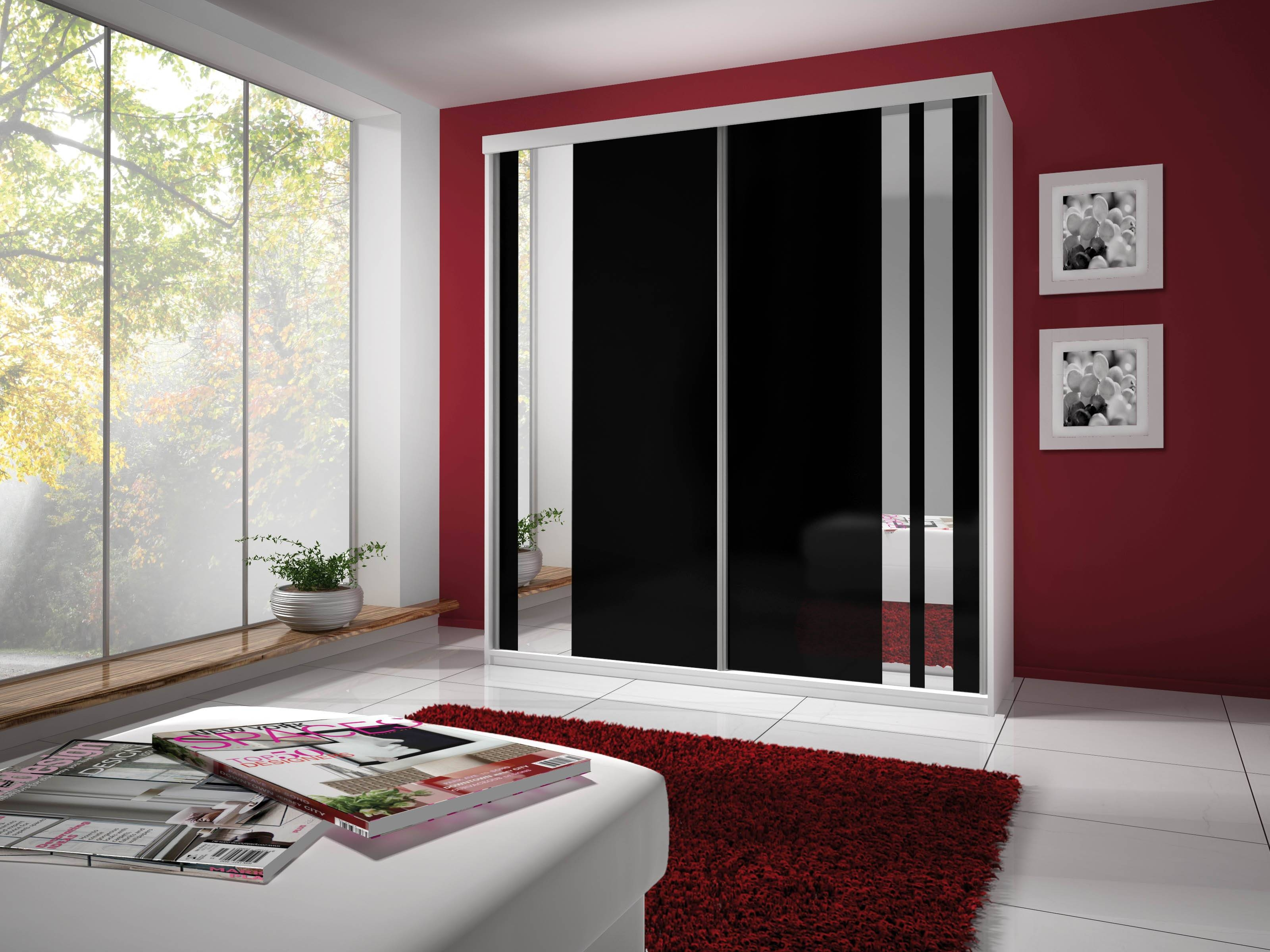 Brand New Modern 2 Door Sliding Wardrobe With Mirror Hanging Rail intended for Black Wardrobes With Mirror (Image 5 of 15)