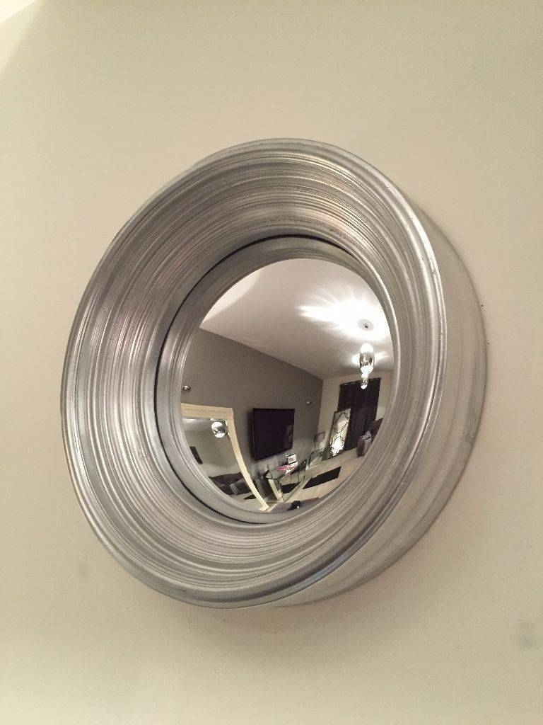 Brand New Small Round Silver Porthole Curved Wall Mirror Hall inside Porthole Wall Mirrors (Image 7 of 25)
