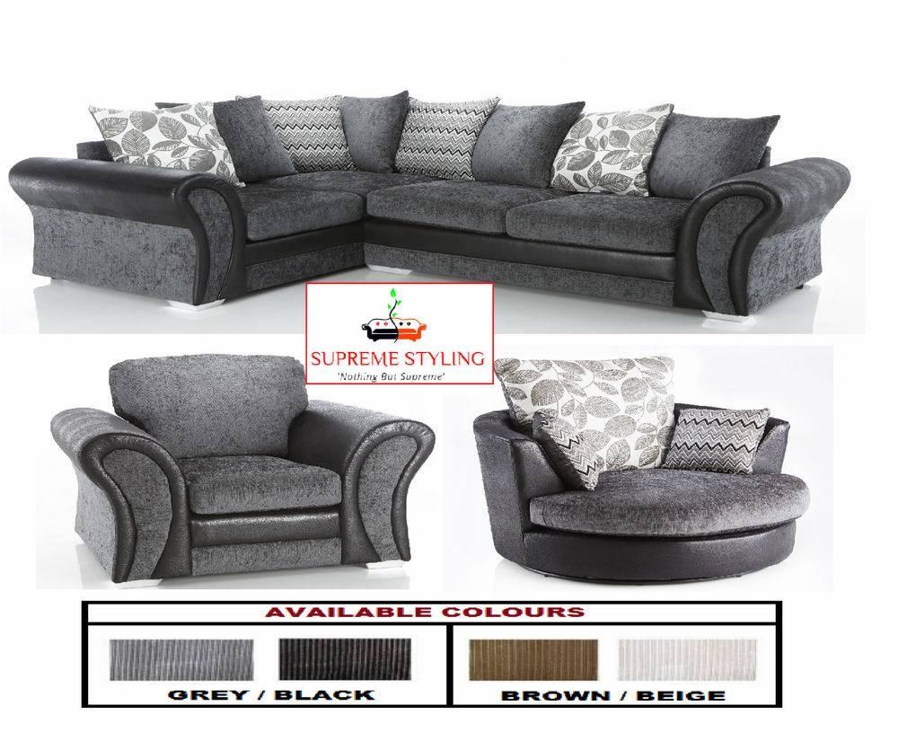 Brand New Starlet Corner Sofa Suite Cuddle Swivel Arm Chair Black with Corner Sofa and Swivel Chairs (Image 5 of 30)