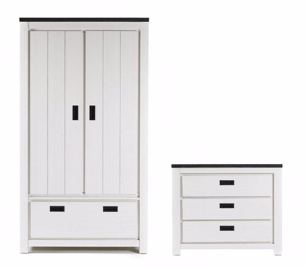 Brand New White Wood Effect 2 Pc Bedroom Set 2 Door 1 Drawer throughout White Wooden Wardrobes (Image 4 of 15)