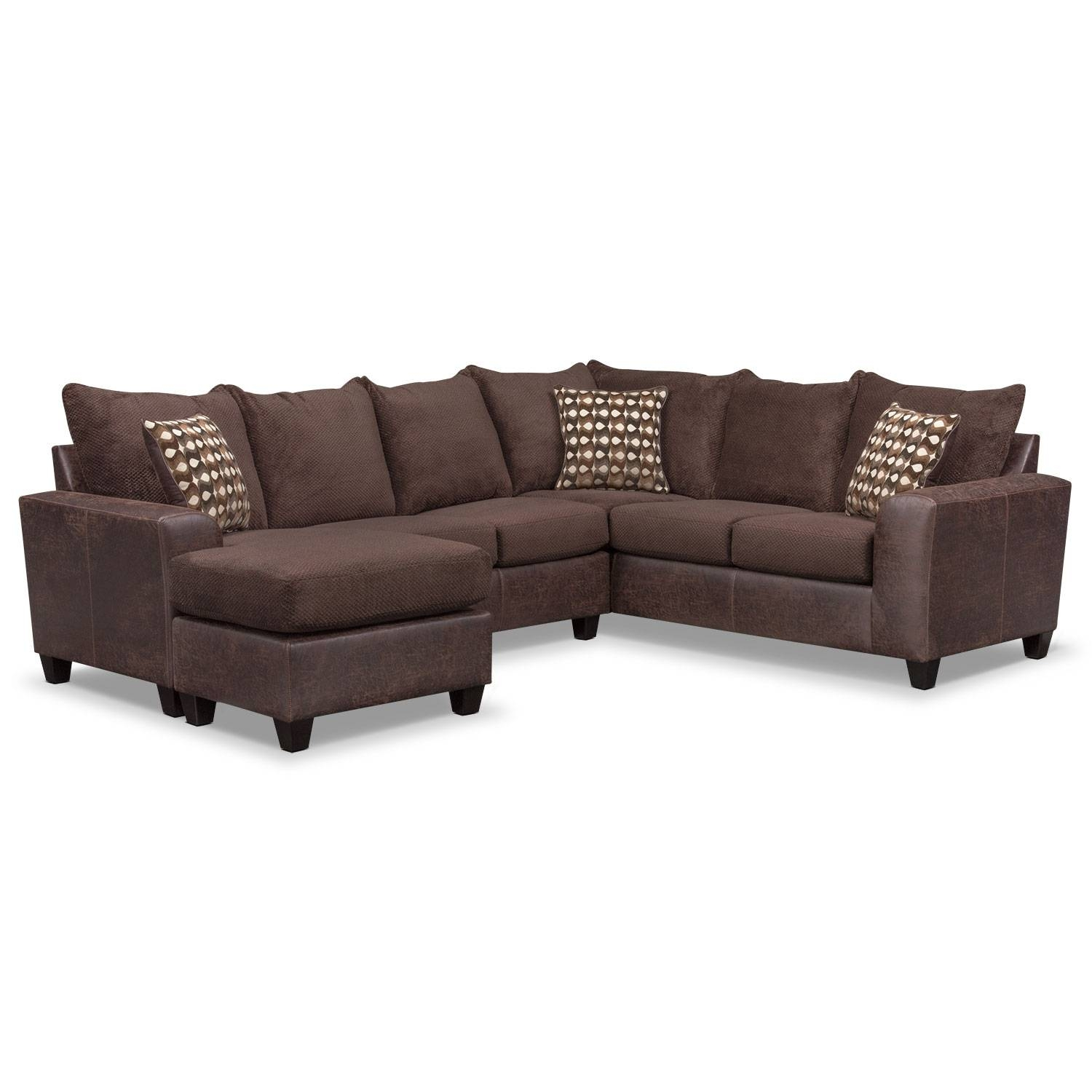Brando 3-Piece Sectional With Modular Chaise - Chocolate throughout Modular Corner Sofas (Image 8 of 30)