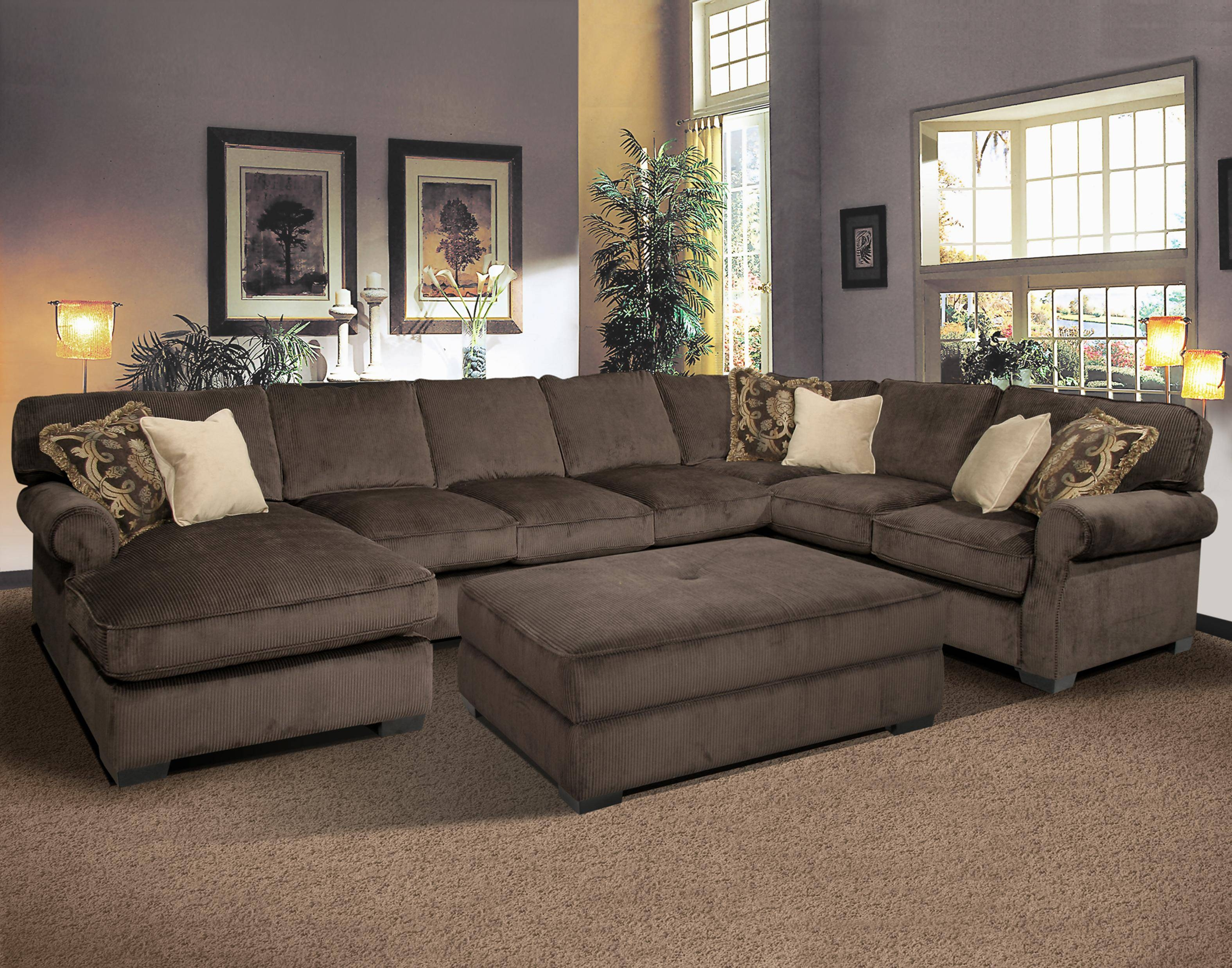 Brando Sofa With Chaise Smoke. Oversized Couch Couch And Oversized throughout Deep Cushioned Sofas (Image 1 of 30)