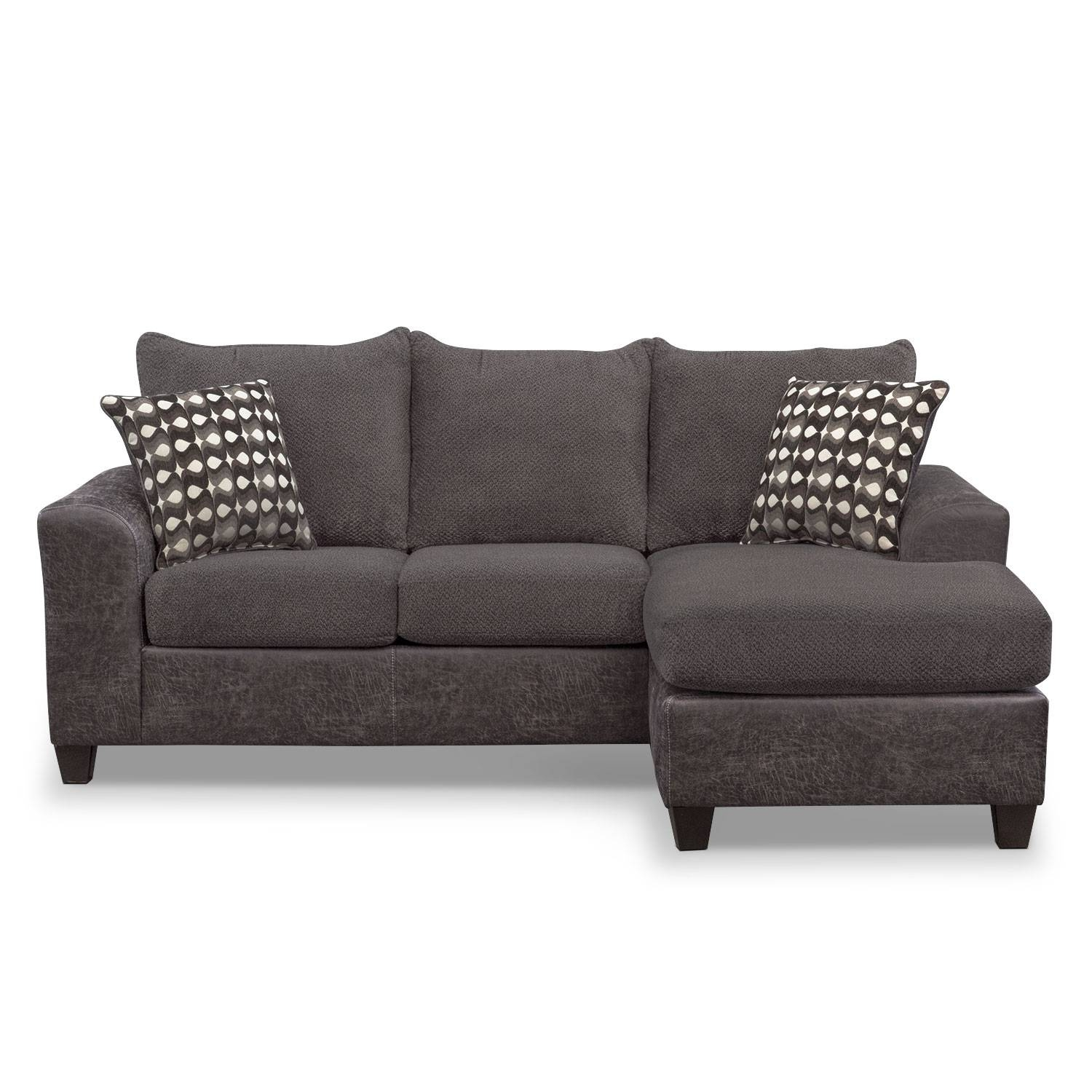 Brando Sofa With Chaise - Smoke | Value City Furniture throughout Sofa Corner Units (Image 3 of 30)