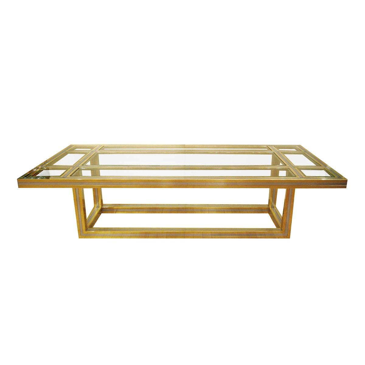 Brass And Stainless Steel Coffee Table With Glass Insets | Coffee in Glass Steel Coffee Tables (Image 3 of 30)