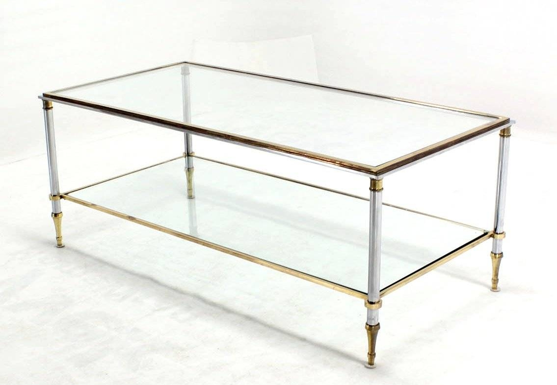 Brass Chrome And Glass-Top Mid-Century Modern Rectangular Coffee in Chrome Coffee Tables (Image 3 of 30)