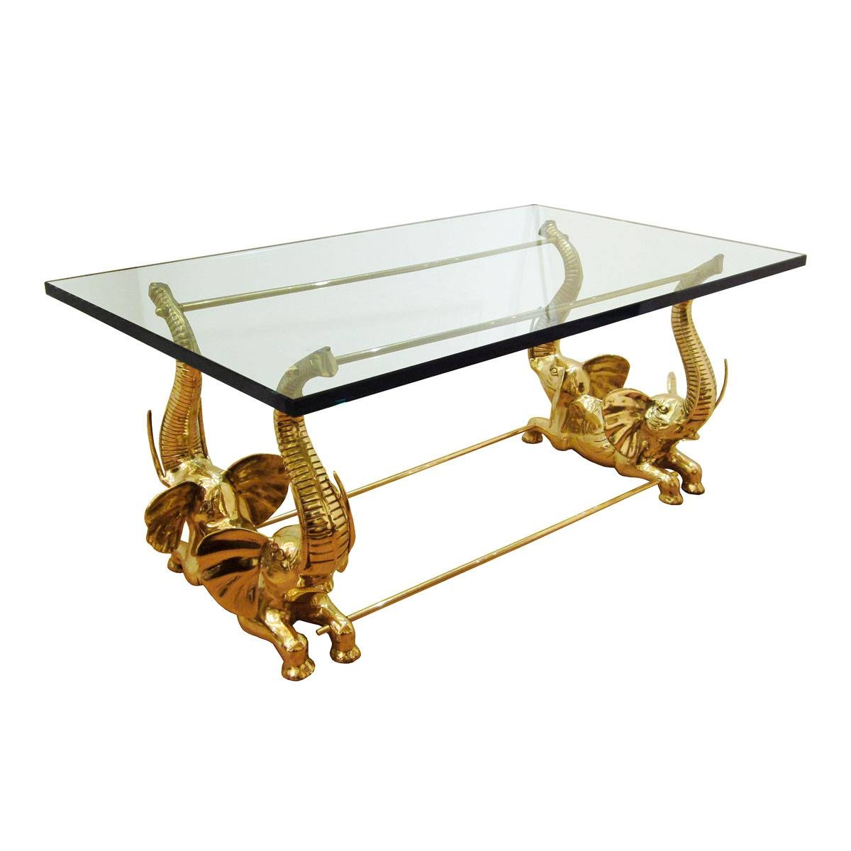 Brass Elephant Base Coffee Table | Coffee Tables | John Salibello inside Elephant Glass Top Coffee Tables (Image 8 of 30)