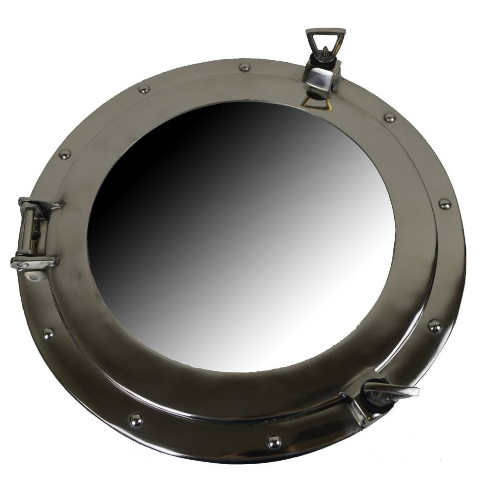 Brass Ships Porthole Mirrors Nickle Finish Porthole Mirrors Chrome Intended For Chrome Porthole Mirrors (View 7 of 25)