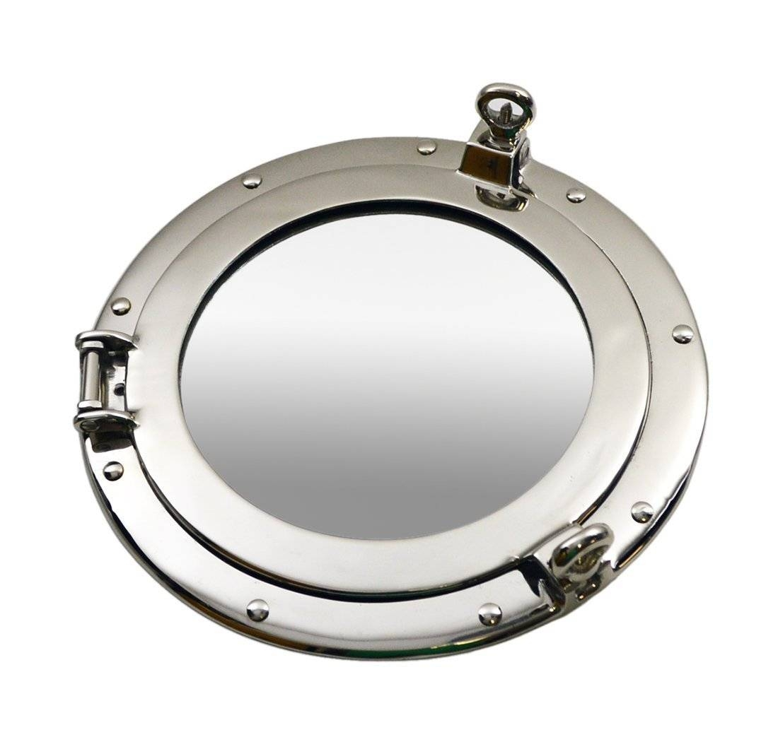 Brass Ships Porthole Mirrors Nickle Finish Porthole Mirrors Chrome Throughout Chrome Porthole Mirrors (View 8 of 25)