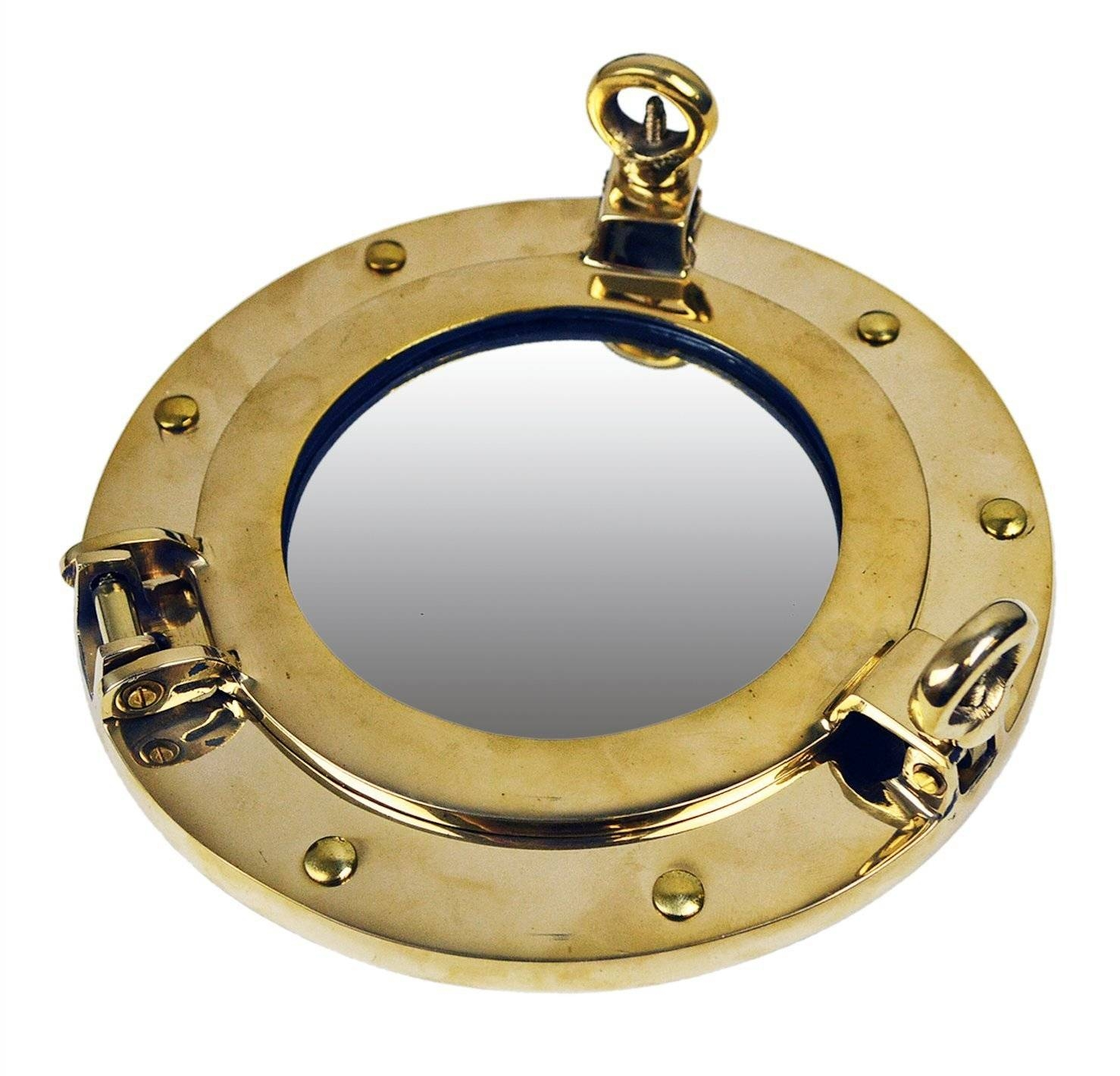 Brass Ships Porthole Mirrors Nickle Finish Porthole Mirrors Chrome with Chrome Porthole Mirrors (Image 9 of 25)