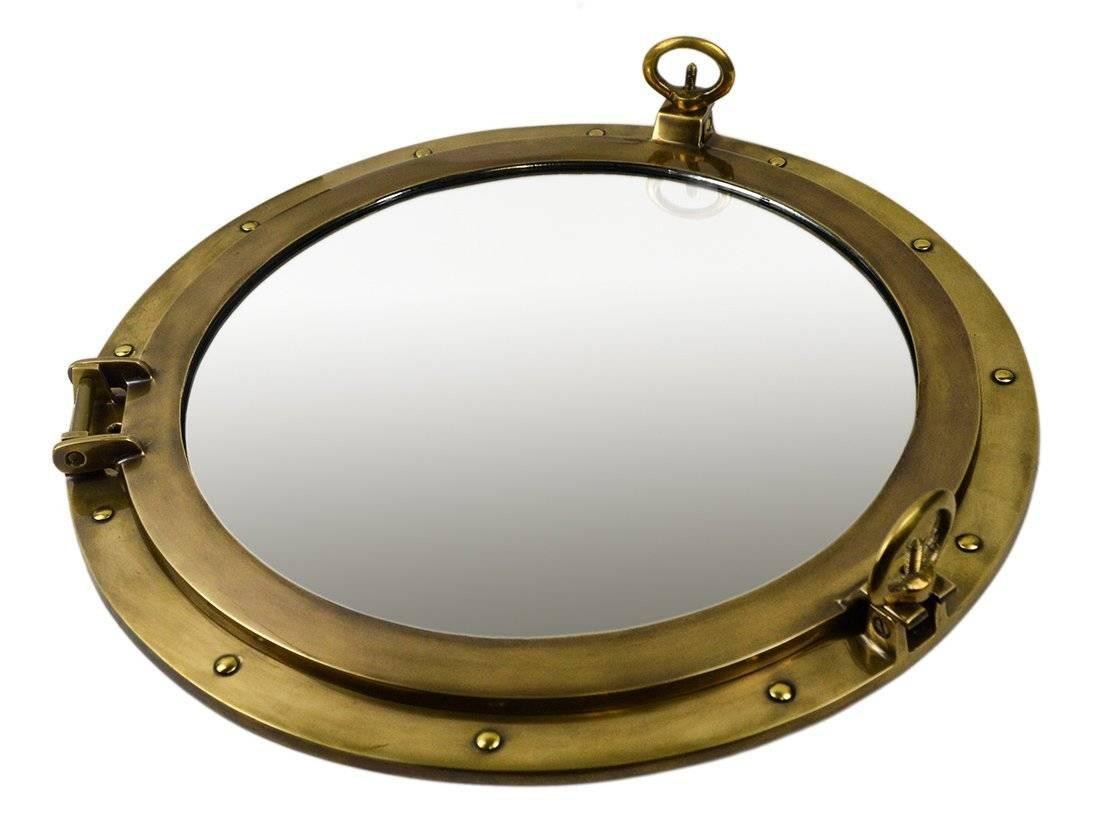 Brass Ships Porthole Mirrors Nickle Finish Porthole Mirrors Chrome within Porthole Wall Mirrors (Image 10 of 25)
