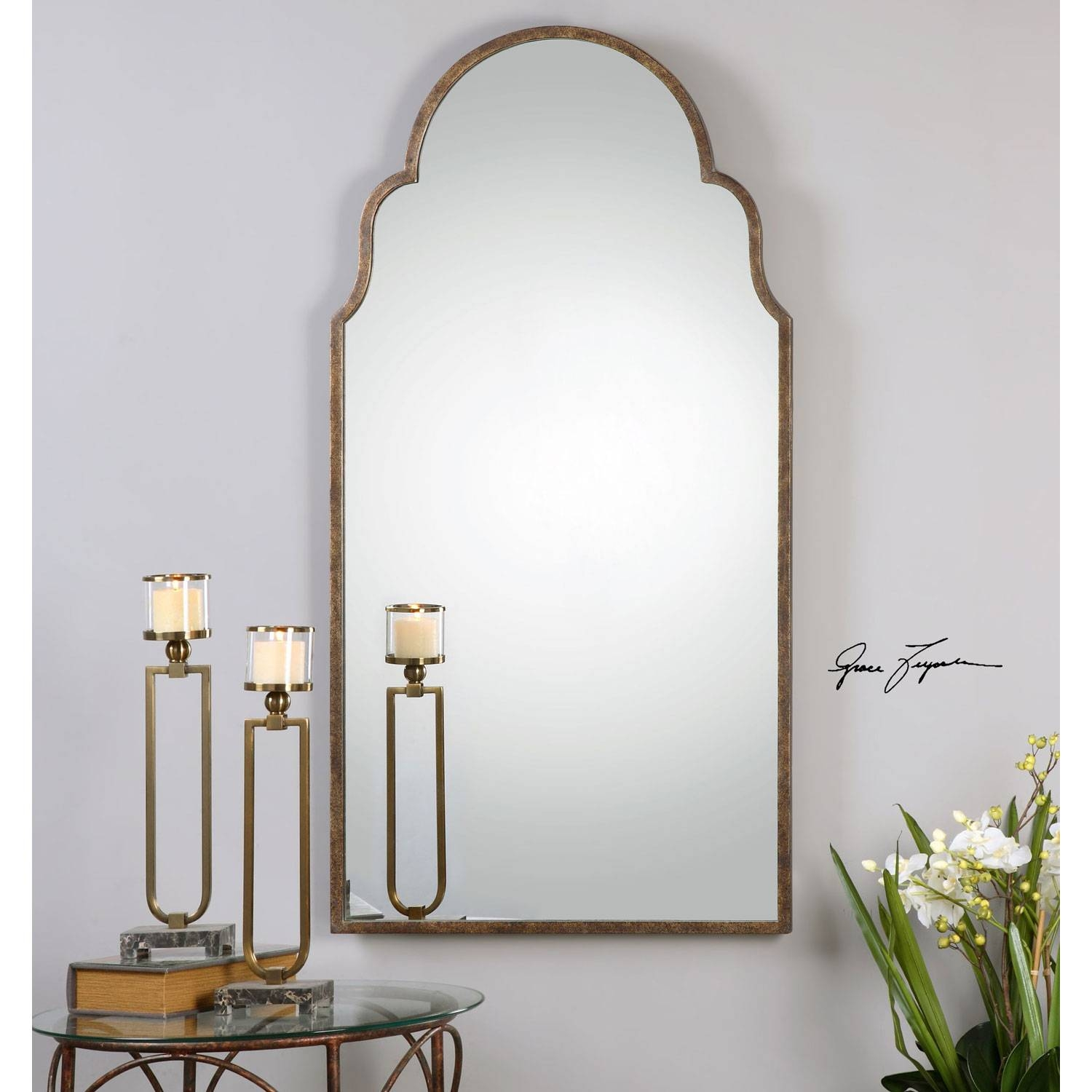 Brayden Rust Bronze Arch Mirror Uttermost Wall Mirror Mirrors Home inside Frameless Arched Mirrors (Image 4 of 25)