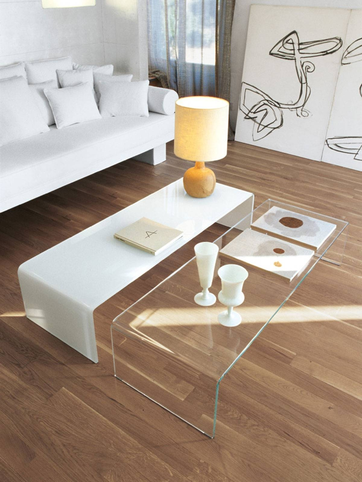 Bridge Curved Glass Coffee Table - To Buy Online - Glassdomain in Curved Glass Coffee Tables (Image 4 of 30)